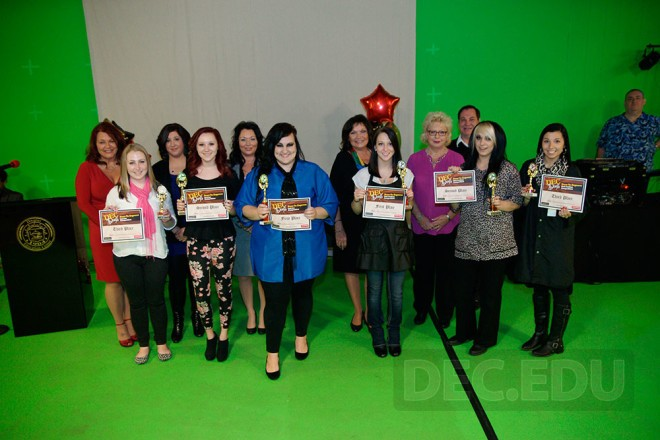 Dare to Express Haircutting and Nail Art Competition Winners Pose with Competition Judges